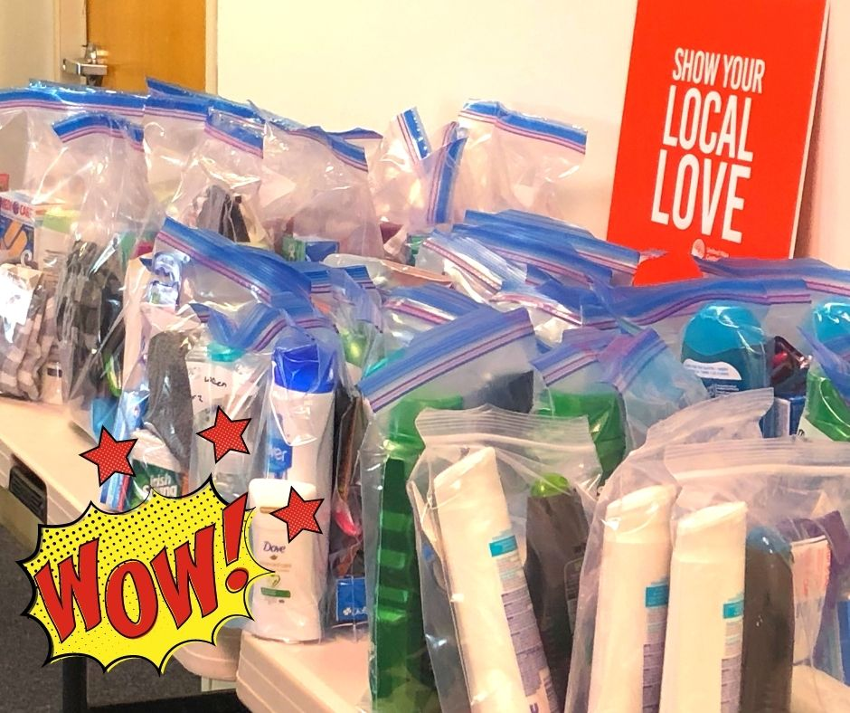 Basic needs kits that include shampoo, soap, toothbrushes and toothpaste